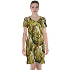 Melting Gold Drops Brighten Version Abstract Pattern Revised Edition Short Sleeve Nightdress