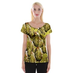 Melting Gold Drops Brighten Version Abstract Pattern Revised Edition Women s Cap Sleeve Top