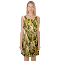 Melting Gold Drops Brighten Version Abstract Pattern Revised Edition Sleeveless Satin Nightdress
