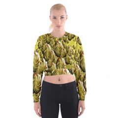 Melting Gold Drops Brighten Version Abstract Pattern Revised Edition Women s Cropped Sweatshirt