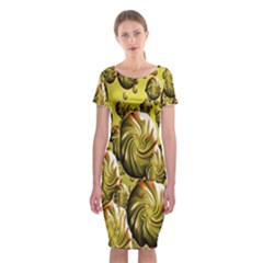 Melting Gold Drops Brighten Version Abstract Pattern Revised Edition Classic Short Sleeve Midi Dress