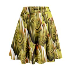 Melting Gold Drops Brighten Version Abstract Pattern Revised Edition High Waist Skirt