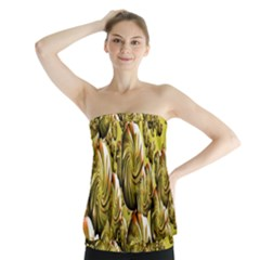 Melting Gold Drops Brighten Version Abstract Pattern Revised Edition Strapless Top