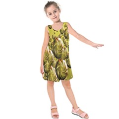 Melting Gold Drops Brighten Version Abstract Pattern Revised Edition Kids  Sleeveless Dress