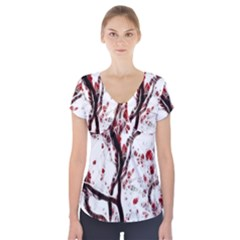 Tree Art Artistic Abstract Background Short Sleeve Front Detail Top