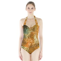Light Effect Abstract Background Wallpaper Halter Swimsuit