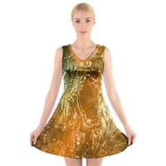 Light Effect Abstract Background Wallpaper V Neck Sleeveless Skater Dress