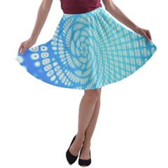 Abstract Pattern Neon Glow Background A Line Skater Skirt