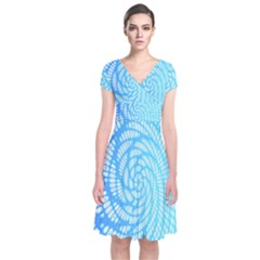 Abstract Pattern Neon Glow Background Short Sleeve Front Wrap Dress