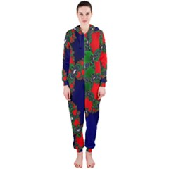 Recurring Circles In Shape Of Amphitheatre Hooded Jumpsuit (Ladies)