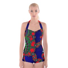 Recurring Circles In Shape Of Amphitheatre Boyleg Halter Swimsuit