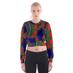 Recurring Circles In Shape Of Amphitheatre Women s Cropped Sweatshirt
