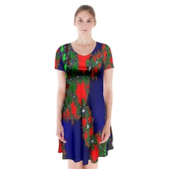 Recurring Circles In Shape Of Amphitheatre Short Sleeve V Neck Flare Dress