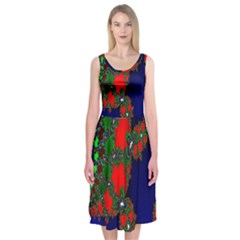 Recurring Circles In Shape Of Amphitheatre Midi Sleeveless Dress