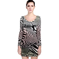 Abstract Fauna Pattern When Zebra And Giraffe Melt Together Long Sleeve Bodycon Dress