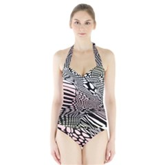 Abstract Fauna Pattern When Zebra And Giraffe Melt Together Halter Swimsuit