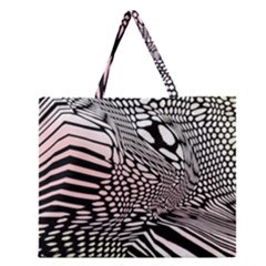 Abstract Fauna Pattern When Zebra And Giraffe Melt Together Zipper Large Tote Bag