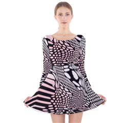 Abstract Fauna Pattern When Zebra And Giraffe Melt Together Long Sleeve Velvet Skater Dress