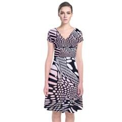 Abstract Fauna Pattern When Zebra And Giraffe Melt Together Short Sleeve Front Wrap Dress