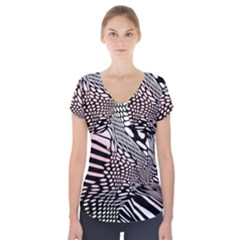 Abstract Fauna Pattern When Zebra And Giraffe Melt Together Short Sleeve Front Detail Top