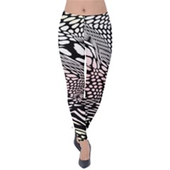 Abstract Fauna Pattern When Zebra And Giraffe Melt Together Velvet Leggings