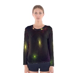 Star Lights Abstract Colourful Star Light Background Women s Long Sleeve Tee