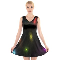 Star Lights Abstract Colourful Star Light Background V Neck Sleeveless Skater Dress