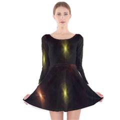 Star Lights Abstract Colourful Star Light Background Long Sleeve Velvet Skater Dress