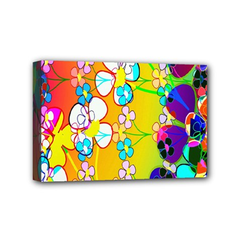 Abstract Flowers Design Mini Canvas 6  x 4