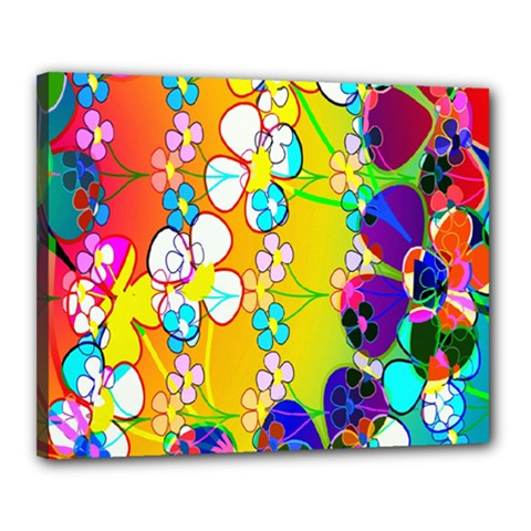 Abstract Flowers Design Canvas 20  X 16