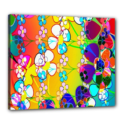 Abstract Flowers Design Canvas 24  X 20