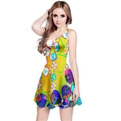 Abstract Flowers Design Reversible Sleeveless Dress