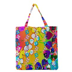 Abstract Flowers Design Grocery Tote Bag