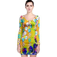 Abstract Flowers Design Long Sleeve Bodycon Dress