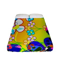 Abstract Flowers Design Fitted Sheet (full/ Double Size)