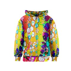 Abstract Flowers Design Kids  Zipper Hoodie