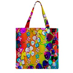 Abstract Flowers Design Zipper Grocery Tote Bag