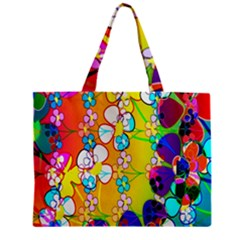 Abstract Flowers Design Zipper Mini Tote Bag