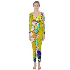 Abstract Flowers Design Long Sleeve Catsuit