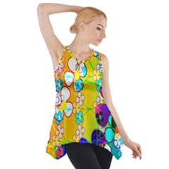 Abstract Flowers Design Side Drop Tank Tunic