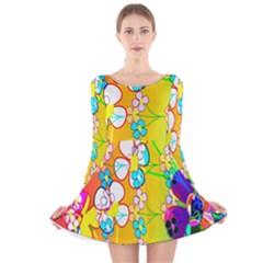 Abstract Flowers Design Long Sleeve Velvet Skater Dress
