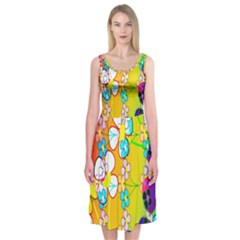 Abstract Flowers Design Midi Sleeveless Dress