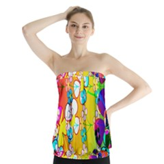Abstract Flowers Design Strapless Top