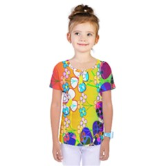 Abstract Flowers Design Kids  One Piece Tee
