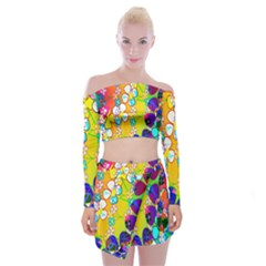 Abstract Flowers Design Off Shoulder Top With Skirt Set