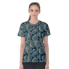 Gradient Flowers Abstract Background Women s Cotton Tee