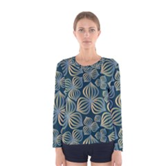 Gradient Flowers Abstract Background Women s Long Sleeve Tee
