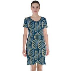 Gradient Flowers Abstract Background Short Sleeve Nightdress