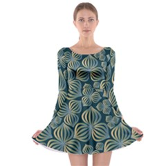 Gradient Flowers Abstract Background Long Sleeve Skater Dress