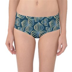 Gradient Flowers Abstract Background Mid Waist Bikini Bottoms